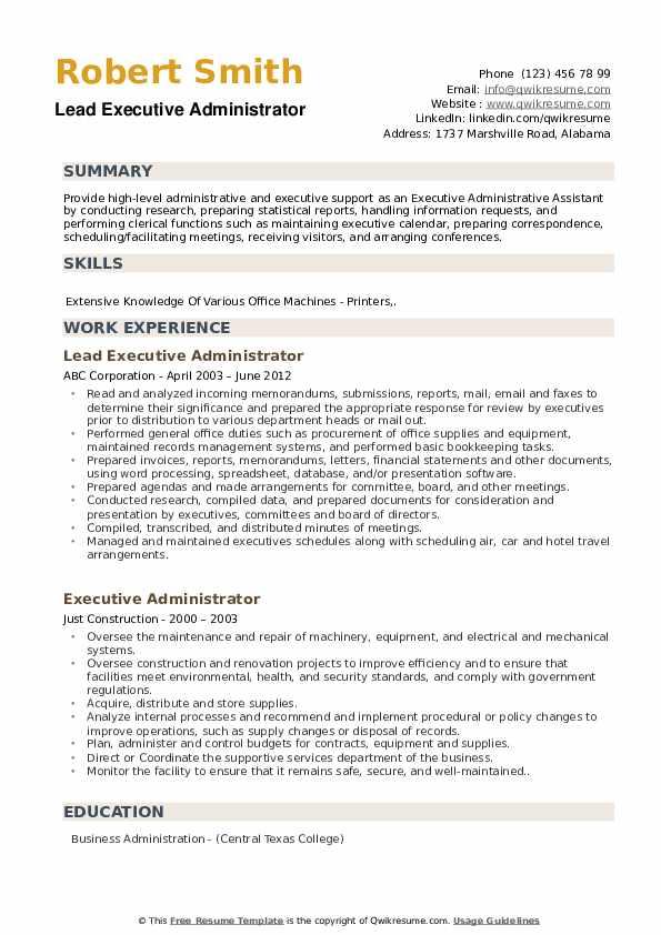 Lead Executive Administrator Resume Example
