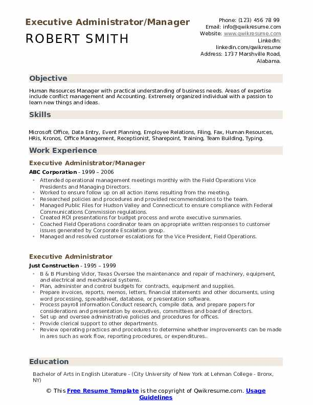 Executive Administrator/Manager Resume Example