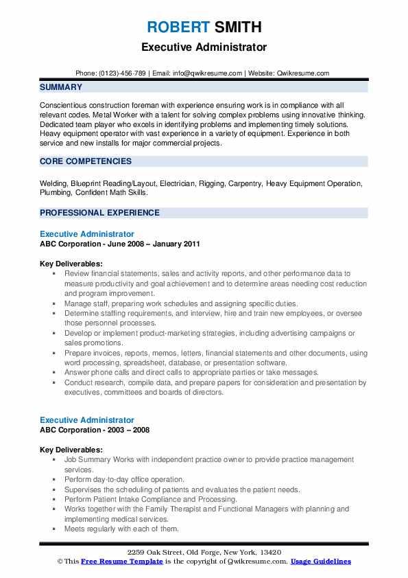 Executive Administrator Resume example
