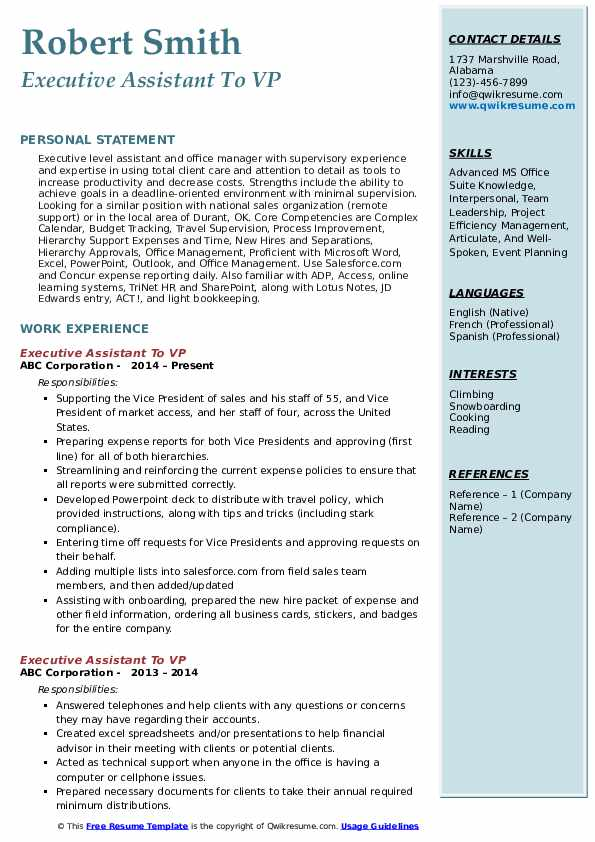 Executive Assistant To VP Resume Template
