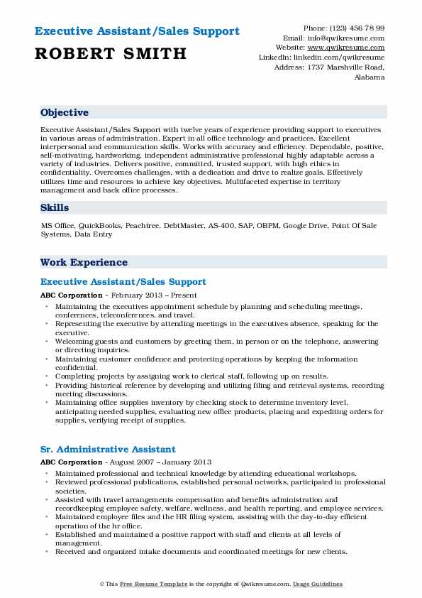 Executive Assistant/Sales Support Resume Template