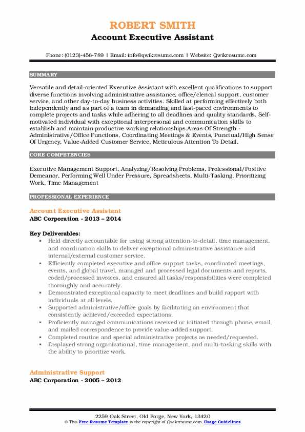Account Executive Assistant Resume Sample