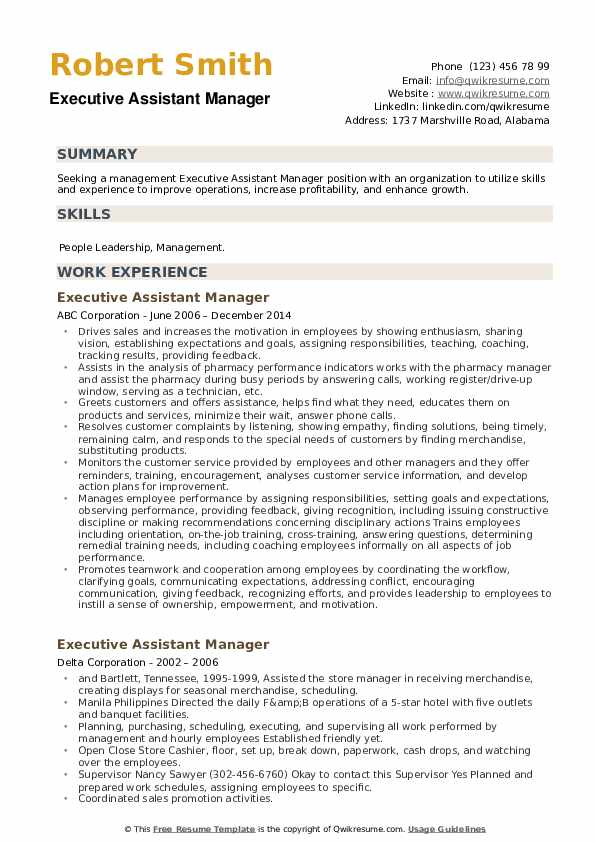 Executive Assistant Manager Resume example