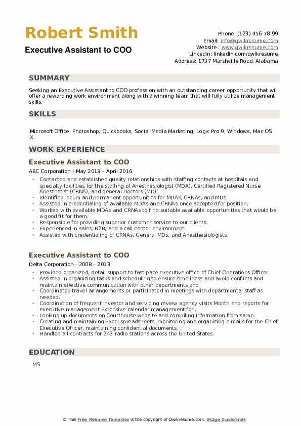 Executive Assistant to COO Resume example
