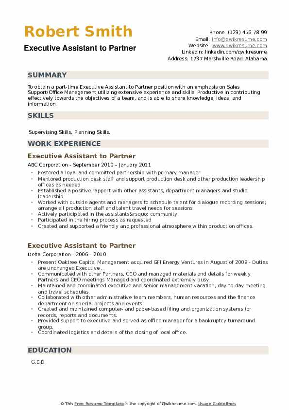 Executive Assistant to Partner Resume example
