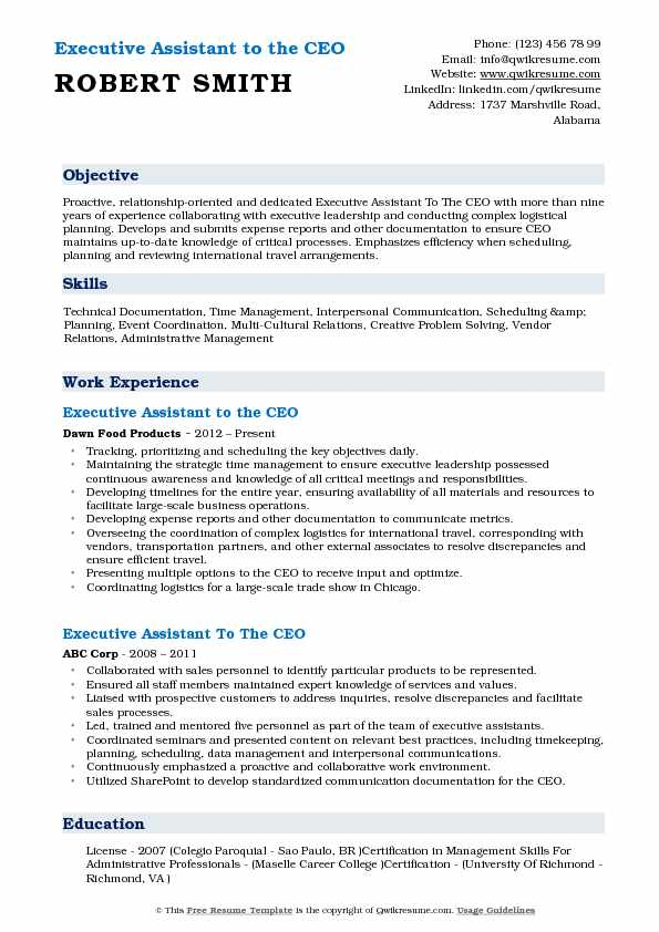 Executive Assistant to the CEO Resume Samples | QwikResume