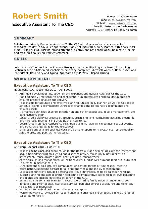 executive assistant to the ceo resume samples