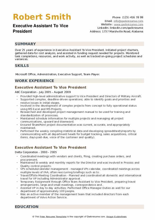 Executive Assistant To Vice President Resume example