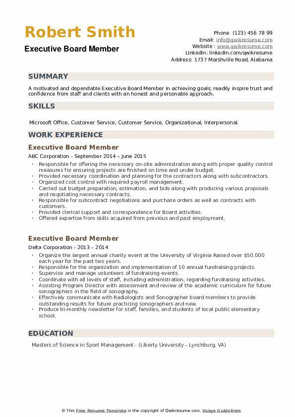 Executive Board Member Resume example