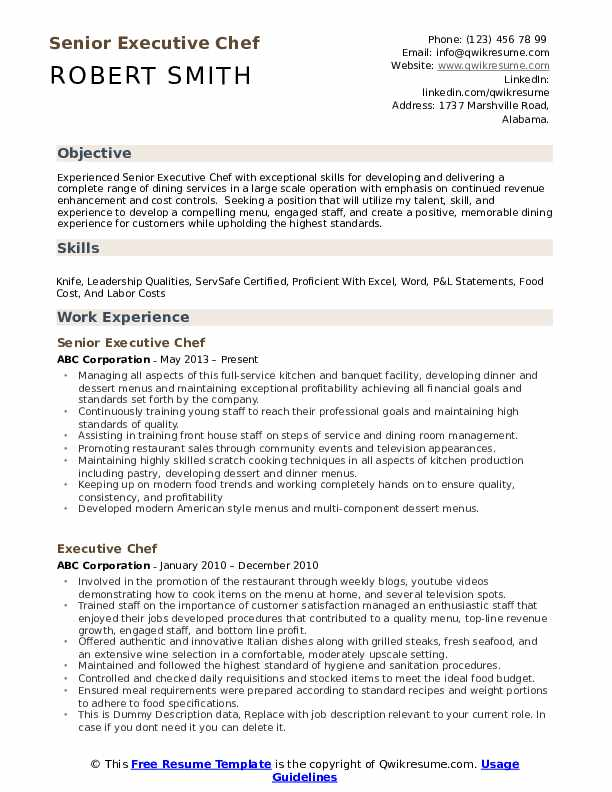 Executive Chef Resume Samples Qwikresume