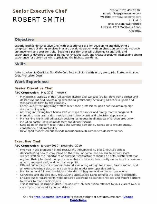 Senior Executive Chef Resume Model