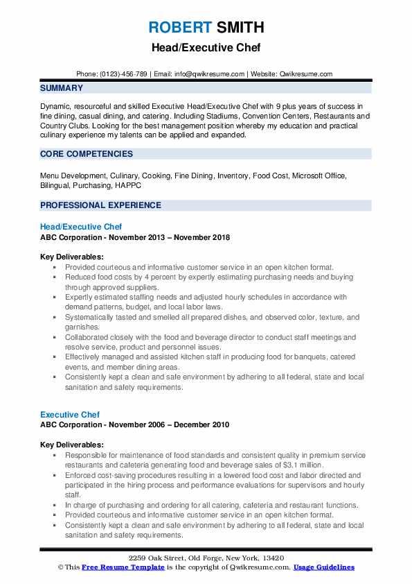 Head/Executive Chef Resume Example