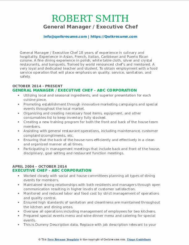 General Manager / Executive Chef Resume Example