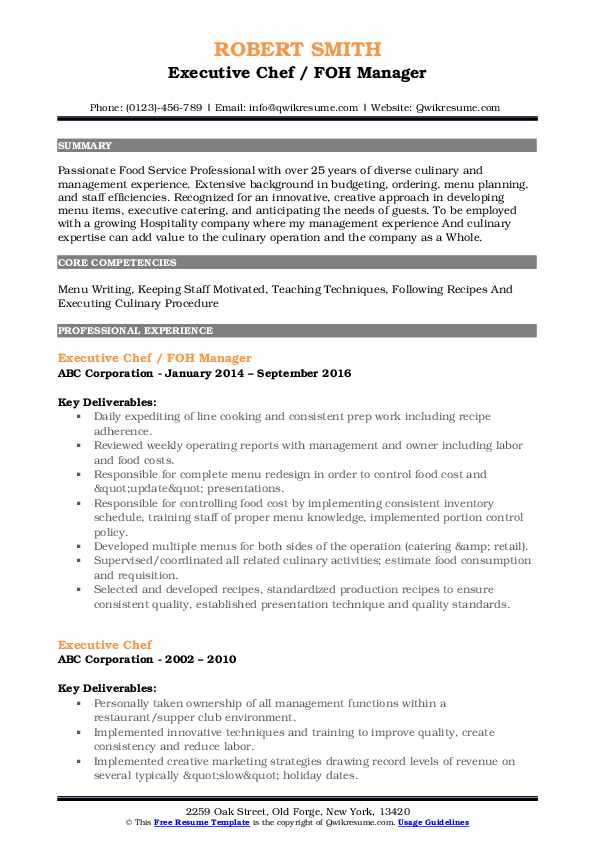 Executive Chef / FOH Manager Resume Example