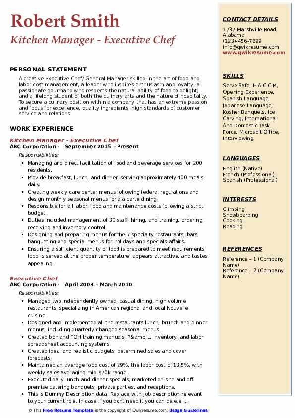 Kitchen Manager - Executive Chef Resume Template
