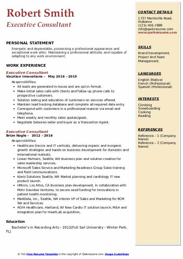 Executive Consultant Resume example
