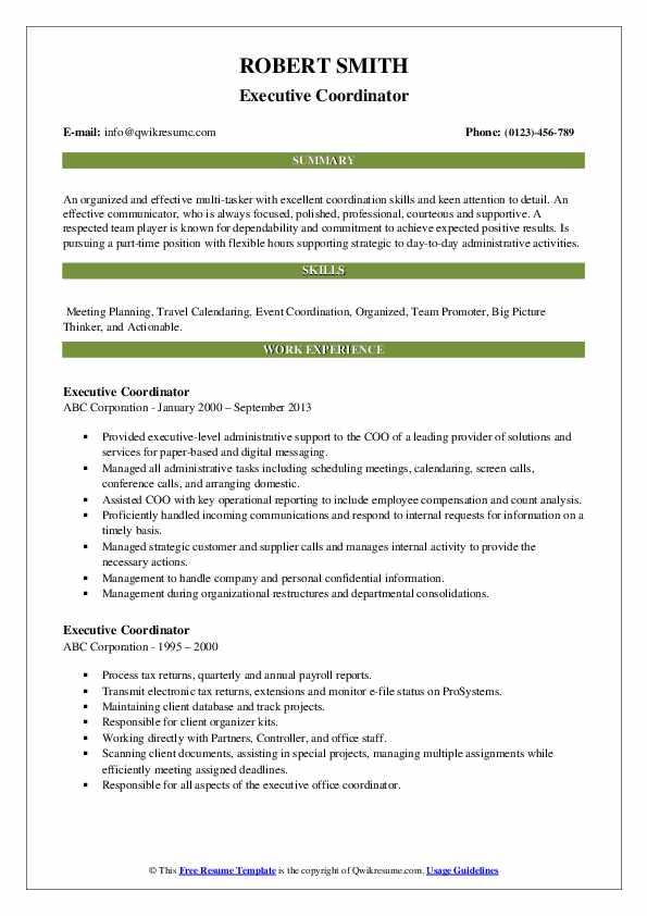 Executive Coordinator Resume example