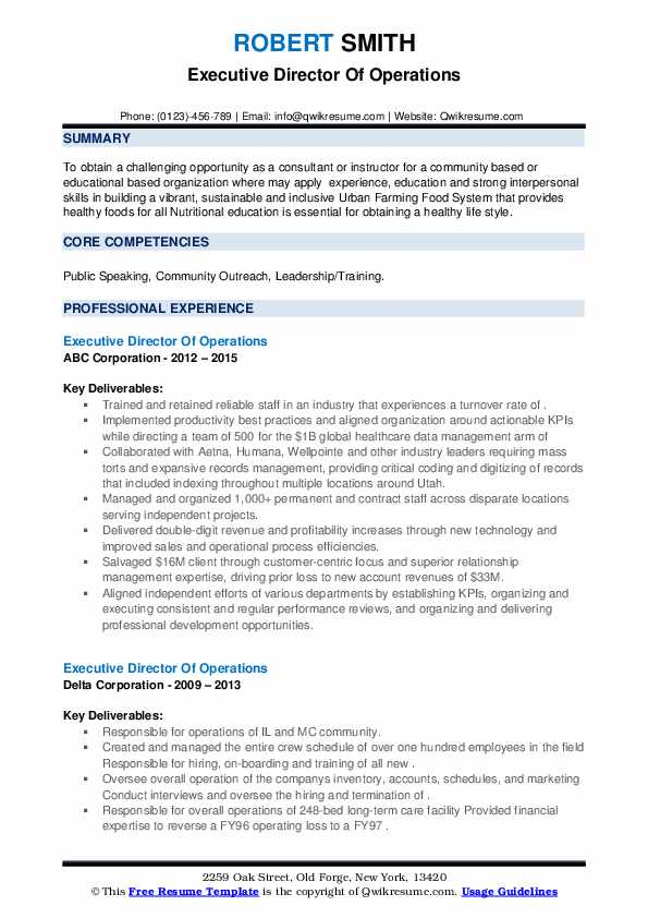 Executive Director Of Operations Resume example