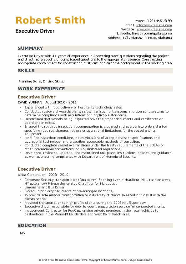 Executive Driver Resume example
