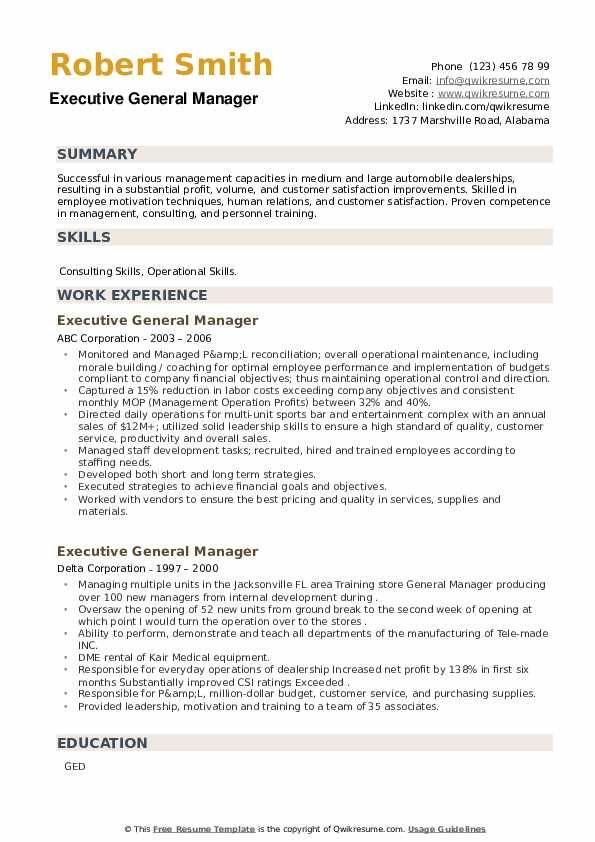 Executive General Manager Resume example