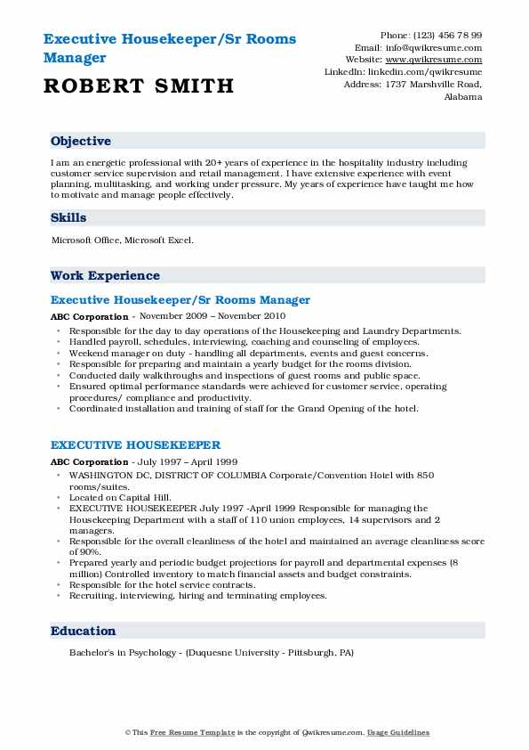 Executive Housekeeper/Sr Rooms Manager Resume Format