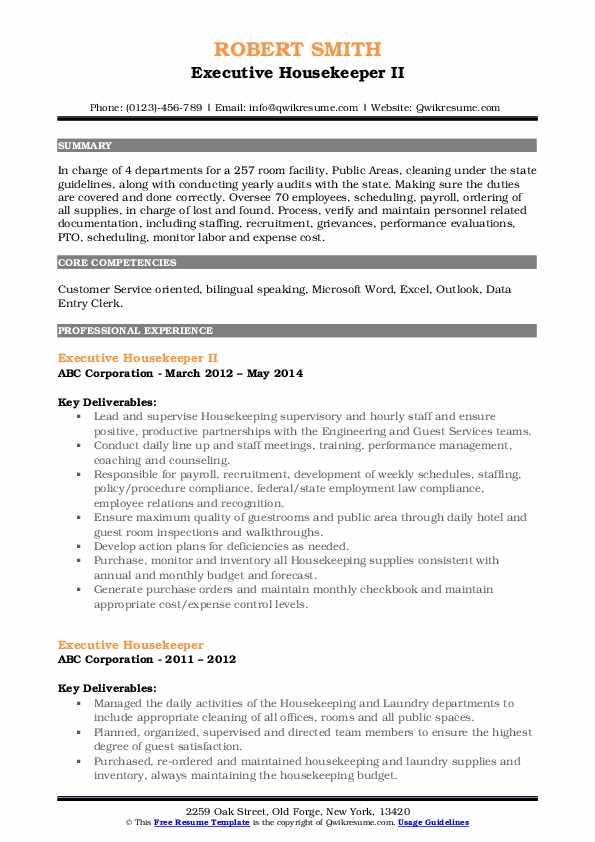 Executive Housekeeper II Resume Model