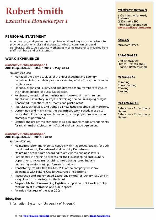 Executive Housekeeper I Resume Model