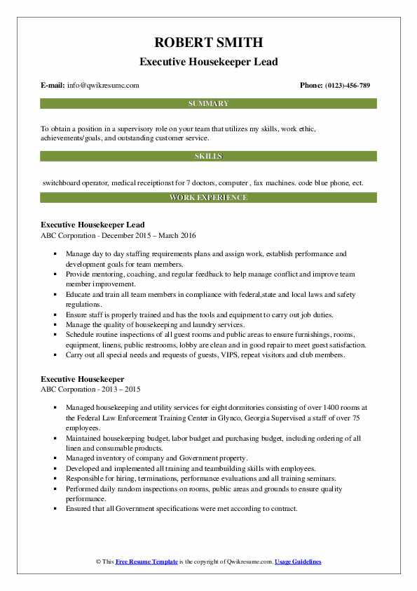Executive Housekeeper Lead Resume Example
