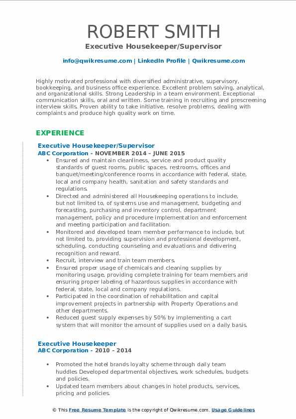 Executive Housekeeper Resume Samples | QwikResume