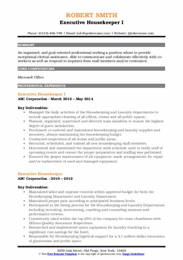 Office & Housekeeping Manager Resume Example
