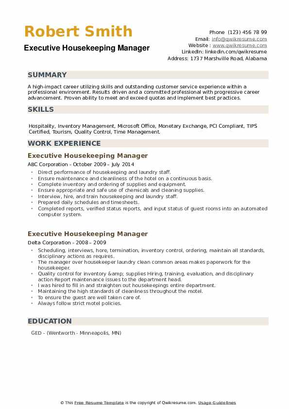 Executive Housekeeping Manager Resume example