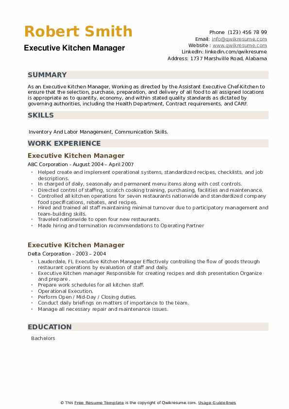 Executive Kitchen Manager Resume example