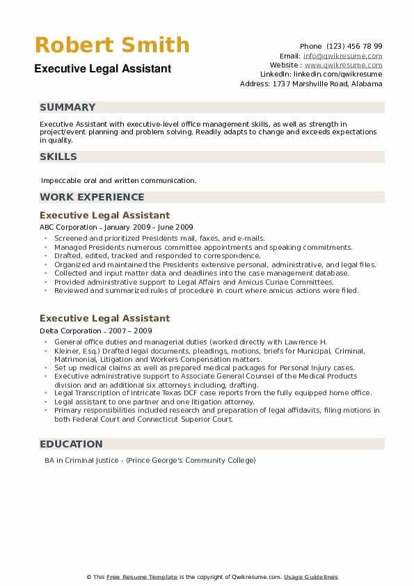 Executive Legal Assistant Resume example