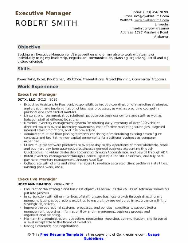 Executive Manager Resume Model