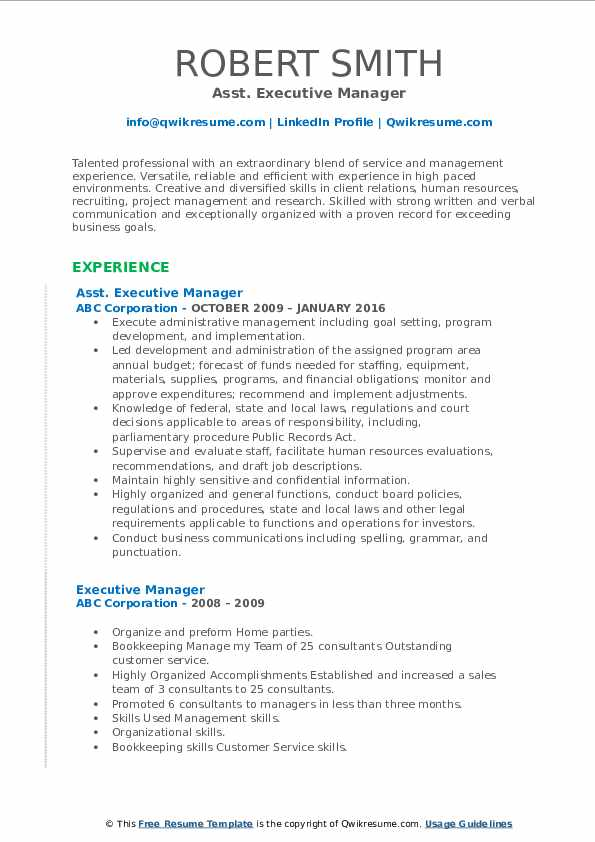 Asst. Executive Manager Resume Example