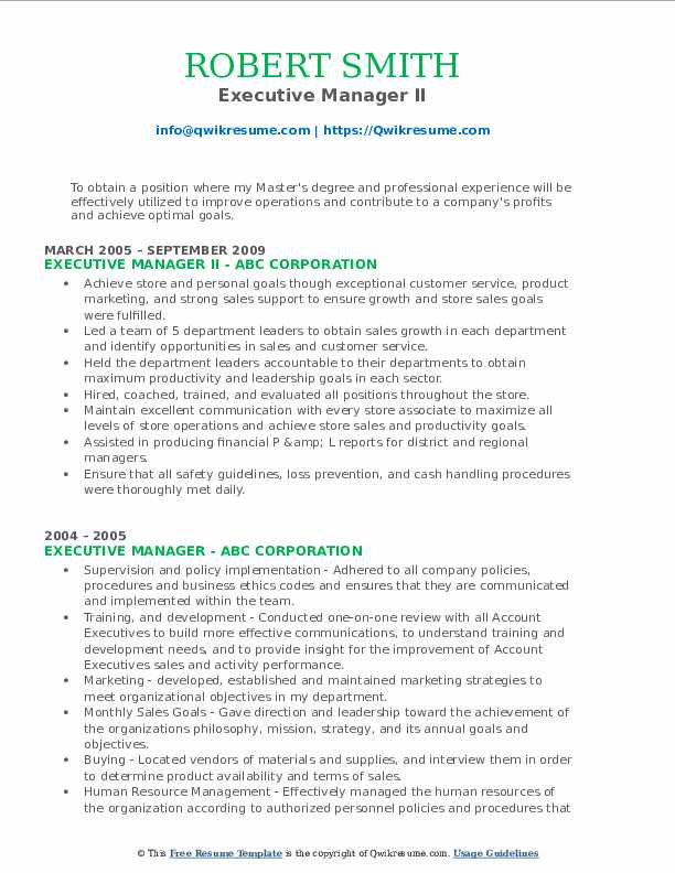 Executive Manager II Resume Format