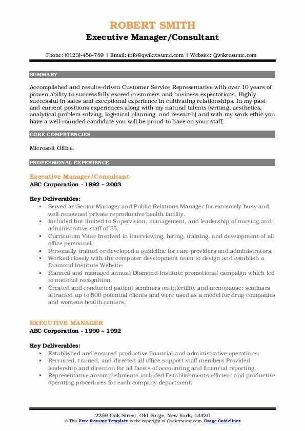 Executive Manager/Consultant Resume Format