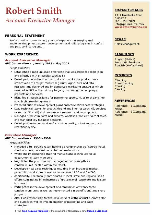 Account Executive Manager Resume Template