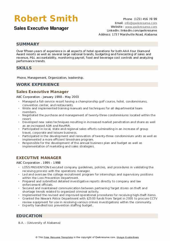Sales Executive Manager Resume Sample