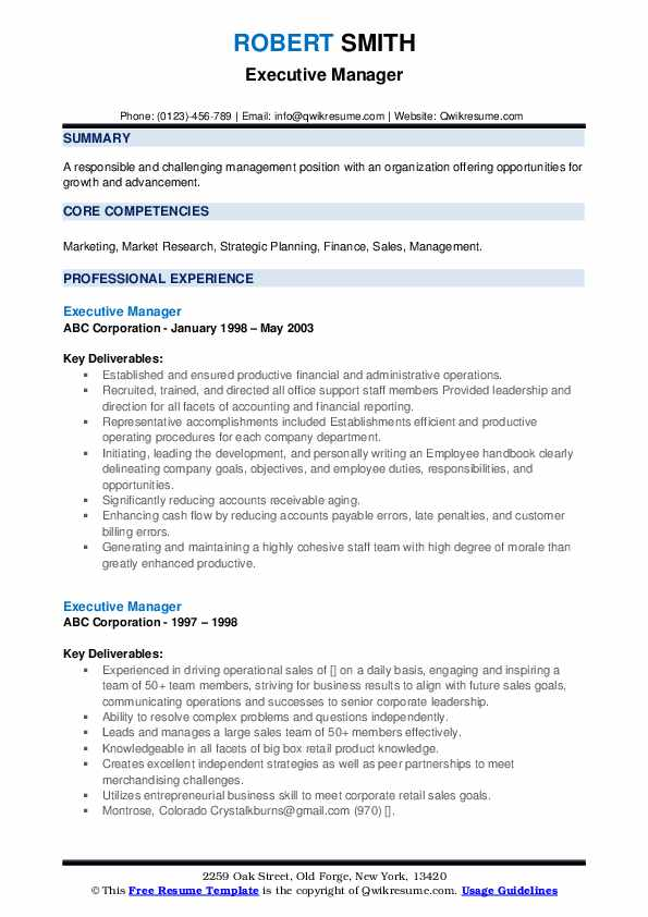 Executive Manager Resume example