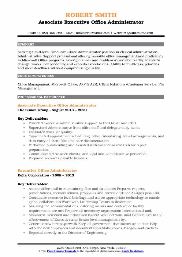 executive office administrator resume samples