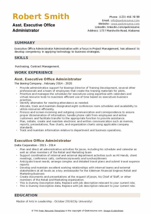 Executive Office Administrator Resume example