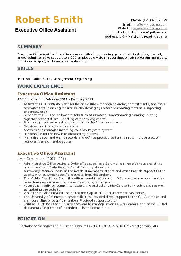 Executive Office Assistant Resume example