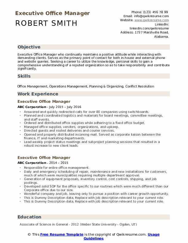 Executive Office Manager Resume example