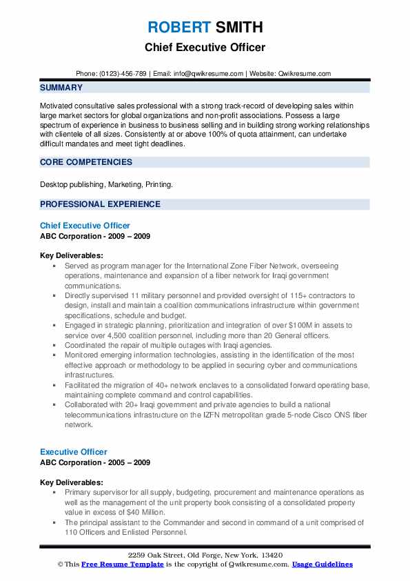 Chief Executive Officer Resume Format