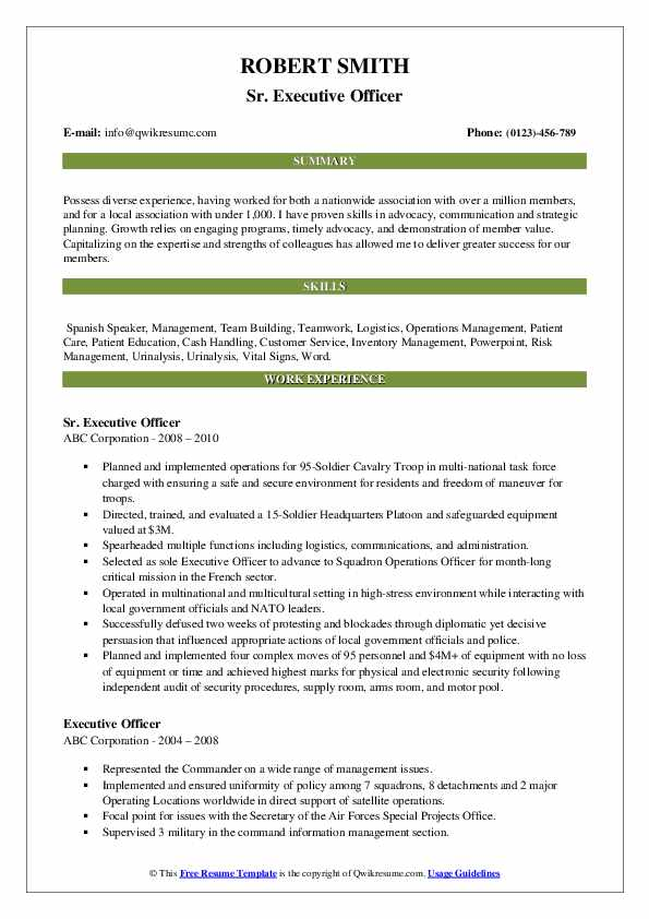 Sr. Executive Officer Resume Example