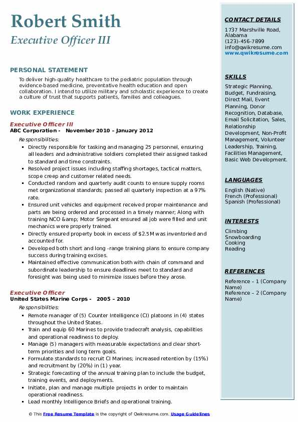 Executive Officer III Resume Template
