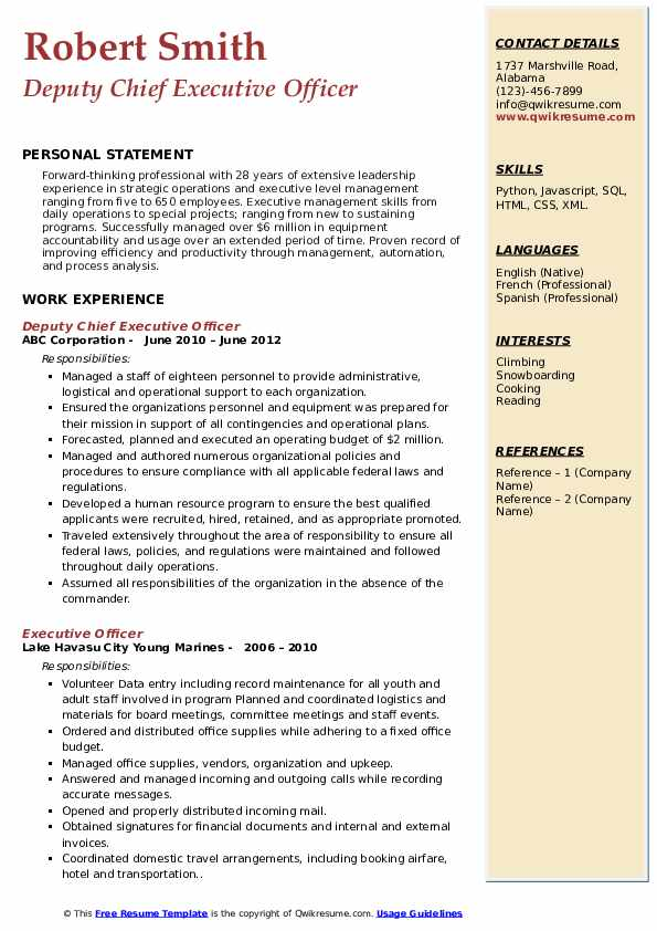 Deputy Chief Executive Officer Resume Format
