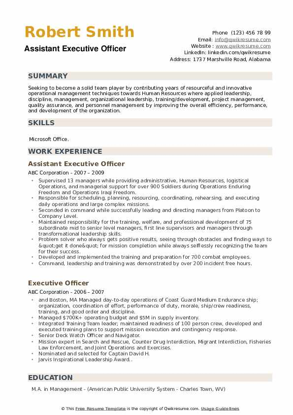 Assistant Executive Officer Resume Example