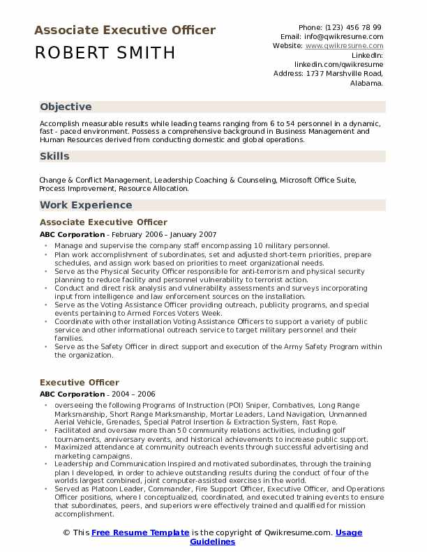 Associate Executive Officer Resume Model